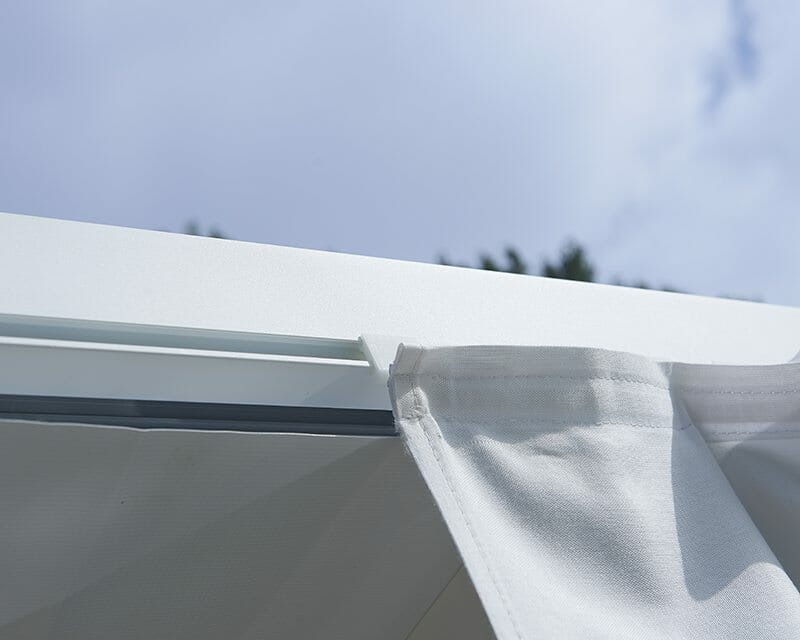 Built-In Side Curtain Channel for Retractable Roof Poolside Cabana