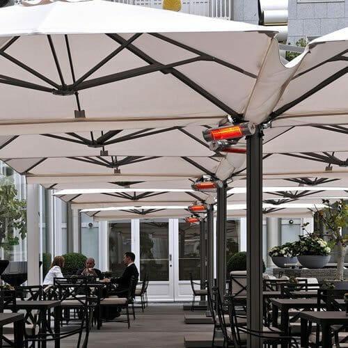 cantilevered umbrellas at a restaurant