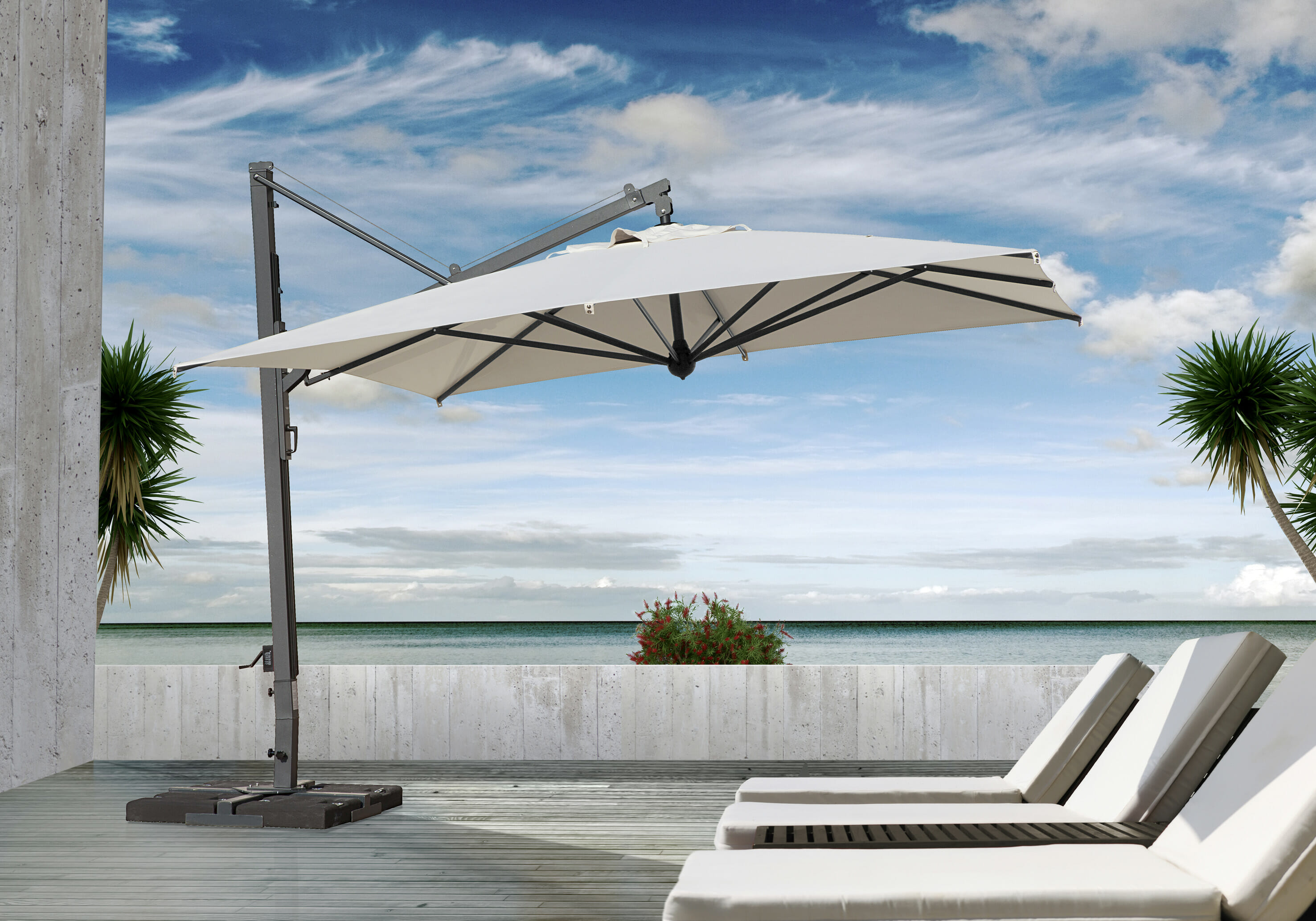 The Unique Cantilevered Umbrella With Retractable Closing System Makes A Strong Visual Statement While Providing Maximum Shade In Outdoor Areas