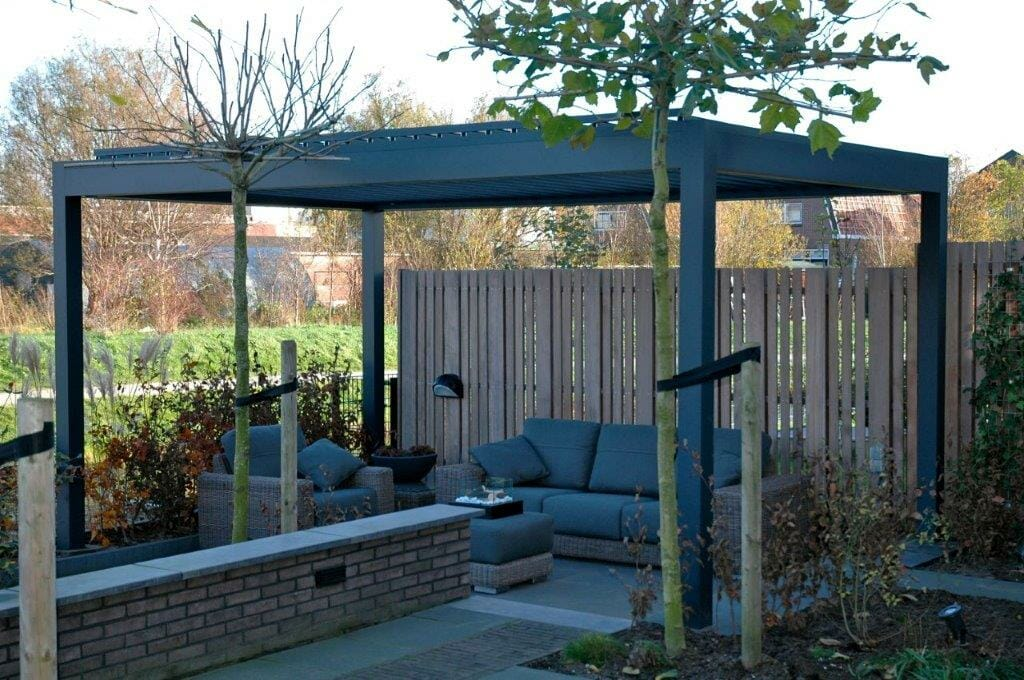 architectural modular 1500 series outdoor shelter with louvered roof