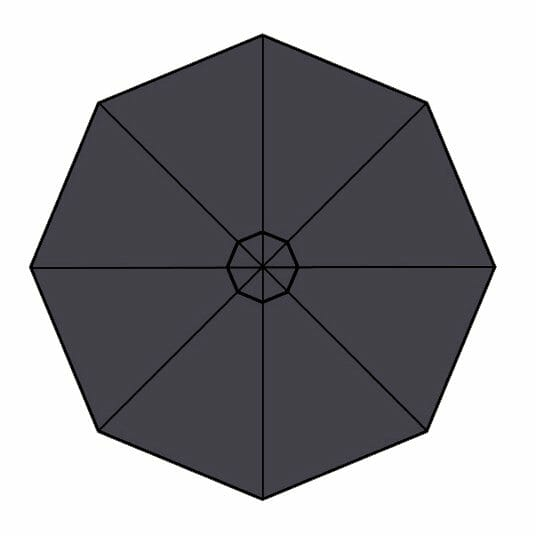 carbon grey fabric option for p-6 square quattro umbrella
