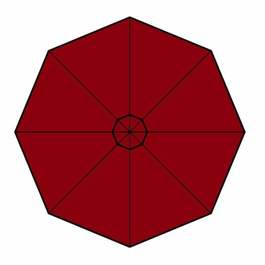 paris red fabric option for p-6 square quattro umbrella
