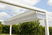 Retractable Roof Poolside Cabana with roof in retracted position