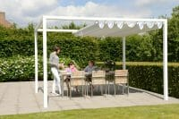 Retractable Roof Poolside Cabana with the roof partially open while a family of 3 is ready to eat
