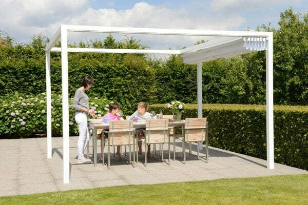 Retractable Roof Poolside Cabana with the roof fully open while a family of 3 is ready to eat