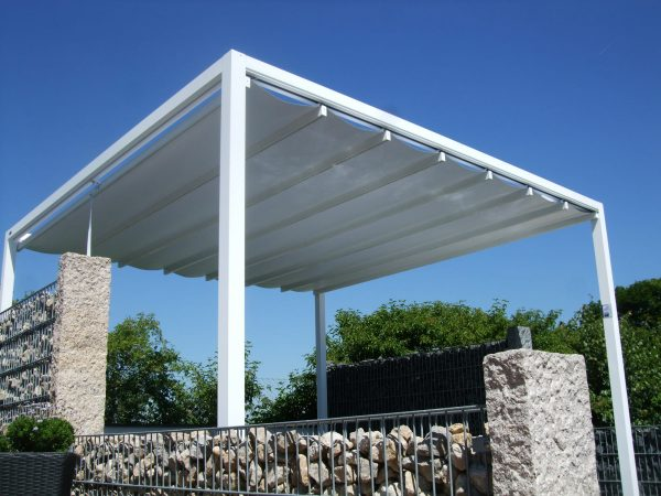a closed roof Retractable Roof Poolside Cabana