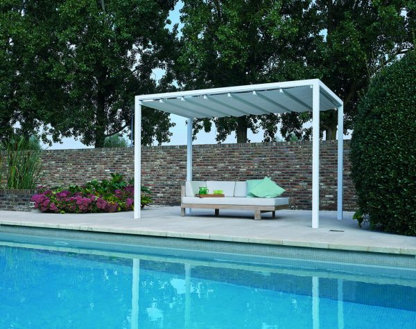 a white Retractable Roof Poolside Cabana with closed roof next to a pool