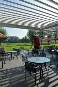 2000 Series Outdoor Shelter covering a large outdoor seating area