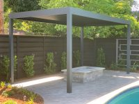 1500 Series Outdoor Shelter covering an outdoor fire pit