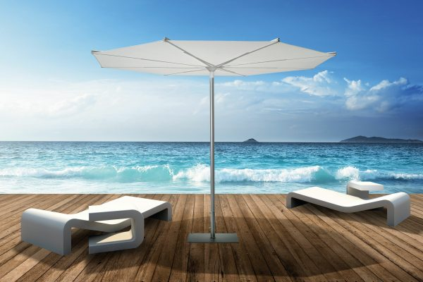 3d rendered single pole umbrella on a wooden terrace with ocean view