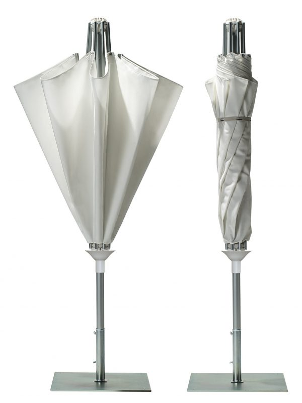 Reve umbrella folded up the opposite way of most umbrellas