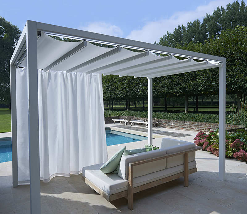 Retractable roof poolside cabanas shelter outdoor living for Prefab pool cabana