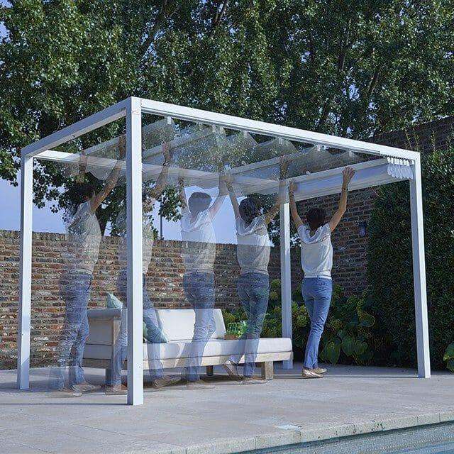 woman opening a Retractable Roof Poolside Cabana