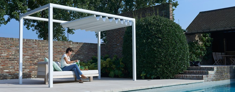 Pool Cabana - Manually Operable PVC Canvas Roof